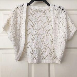Old Navy White Crochet Shrug